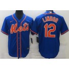 Men's New York Mets #12 Francisco Lindor Blue Cool Base Jersey