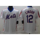 Men's New York Mets #12 Francisco Lindor White 2020 Cooperstown Collection Jersey