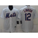 Men's New York Mets #12 Francisco Lindor White Cool Base Jersey