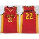Men's OAK Hill High School #22 Carmelo Anthony Red College Basketball Jersey