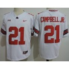 Men's Ohio State Buckeyes #21 Parris Campbell Jr White College Football Jersey