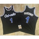 Men's Orlando Magic #1 Penny Hardaway Black 1993 Throwback Authentic Jersey