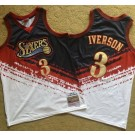 Men's Philadelphia 76ers #3 Allen Iverson Black Red White 1997 Independence Day Authentic Jersey