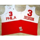 Men's Philadelphia 76ers #3 Allen Iverson White Red 2003 Hollywood Classic Authentic Jersey