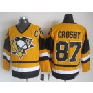 Men's Pittsburgh Penguins #87 Sidney Crosby Yellow Throwback Jersey