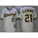 Men's Pittsburgh Pirates #21 Roberto Clemente White Cooperstown Throwback Cool Base Jersey