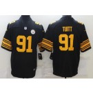 Men's Pittsburgh Steelers #91 Stephon Tuitt Limited Black Rush Color Jersey