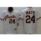 Men's San Francisco Giants #24 Willie Mays White Throwback Cool Base Jersey