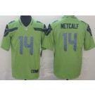 Men's Seattle Seahawks #14 DK Metcalf Limited Green Rush Color Jersey
