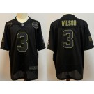 Men's Seattle Seahawks #3 Russell Wilson Limited Black 2020 Salute To Service Jersey