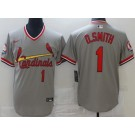 Men's St Louis Cardinals #1 Ozzie Smith Gray Throwback Cool Base Jersey