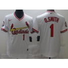 Men's St Louis Cardinals #1 Ozzie Smith White Throwback Cool Base Jersey