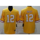 Men's Tampa Bay Buccaneers #12 Tom Brady Limited Yellow Throwback Vapor Untouchable Jersey
