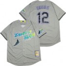 Men's Tampa Bay Rays #12 Wade Boggs Gray Cooperstown Throwback Cool Base Jersey
