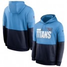Men's Tennessee Titans Light Blue Navy Sideline Impact Lockup Performance Pullover Hoodie