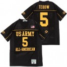 Men's US Army Black Knights #5 Tim Tebow Black All American Football Jersey