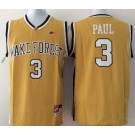 Men's Wake Forest Demon Deacons #3 Chris Paul Yelow College Basketball Jersey