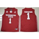 Men's Washington State Cougars #1 Klay Thompson Red 2016 College Basketball Jersey