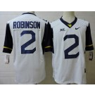 Men's West Virginia Mountaineers #2 Kenny Robinson White College Football Jersey