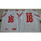 Men's Wisconsin Badgers #16 Russell Wilson White College Football Jersey