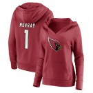 Women's Arizona Cardinals #1 Kyler Murray Red Icon V Neck Pullover Hoodie