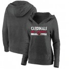 Women's Arizona Cardinals Charcoal First String V Neck Pullover Hoodie