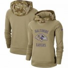 Women's Baltimore Ravens Khaki 2019 Salute to Service Therma Printed Pullover Hoodie