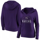 Women's Baltimore Ravens Purple Iconic League Leader V Neck Pullover Hoodie