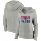 Women's Buffalo Bills Heather Gray Stronger Together Crossover Neck Printed Pullover Hoodie 0706
