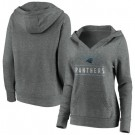 Women's Carolina Panthers Gray Iconic League Leader V Neck Pullover Hoodie
