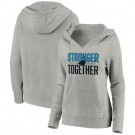 Women's Carolina Panthers Heather Gray Stronger Together Crossover Neck Printed Pullover Hoodie 0725