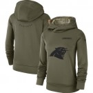 Women's Carolina Panthers Olive Salute To Service Printed Pullover Hoodie
