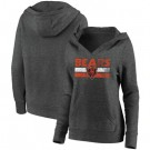 Women's Chicago Bears Charcoal First String V Neck Pullover Hoodie