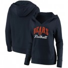 Women's Chicago Bears Navy Victory Script V Neck Pullover Hoodie