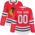 Women's Chicago Blackhawks Customized Red Authentic Jersey