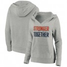 Women's Denver Broncos Heather Gray Stronger Together Crossover Neck Printed Pullover Hoodie 0715