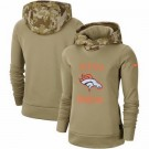 Women's Denver Broncos Khaki 2019 Salute to Service Therma Printed Pullover Hoodie