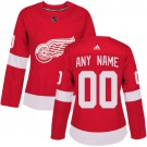 Women's Detroit Red Wings Customized Red Authentic Jersey