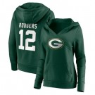 Women's Green Bay Packers #12 Aaron Rodgers Green Team Logo V Neck Pullover Hoodie