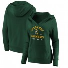 Women's Green Bay Packers Green Vintage Arch V Neck Pullover Hoodie
