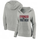 Women's Houston Texans Heather Gray Stronger Together Crossover Neck Printed Pullover Hoodie 0729