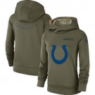 Women's Indianapolis Colts Olive Salute To Service Printed Pullover Hoodie