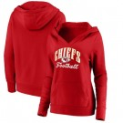 Women's Kansas City Chiefs Red Victory Script V Neck Pullover Hoodie