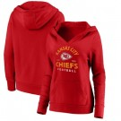 Women's Kansas City Chiefs Red Vintage Arch V Neck Pullover Hoodie