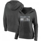 Women's Las Vegas Raiders Charcoal First String V Neck Pullover Hoodie