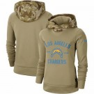 Women's Los Angeles Chargers Khaki 2019 Salute to Service Therma Printed Pullover Hoodie