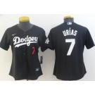 Women's Los Angeles Dodgers #7 Julio Urias Black Red Cool Base Jersey