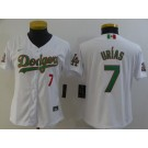Women's Los Angeles Dodgers #7 Julio Urias White Mexican World Series Cool Base Jersey