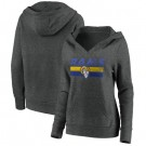 Women's Los Angeles Rams Charcoal First String V Neck Pullover Hoodie