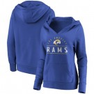 Women's Los Angeles Rams Royal Iconic League Leader V Neck Pullover Hoodie